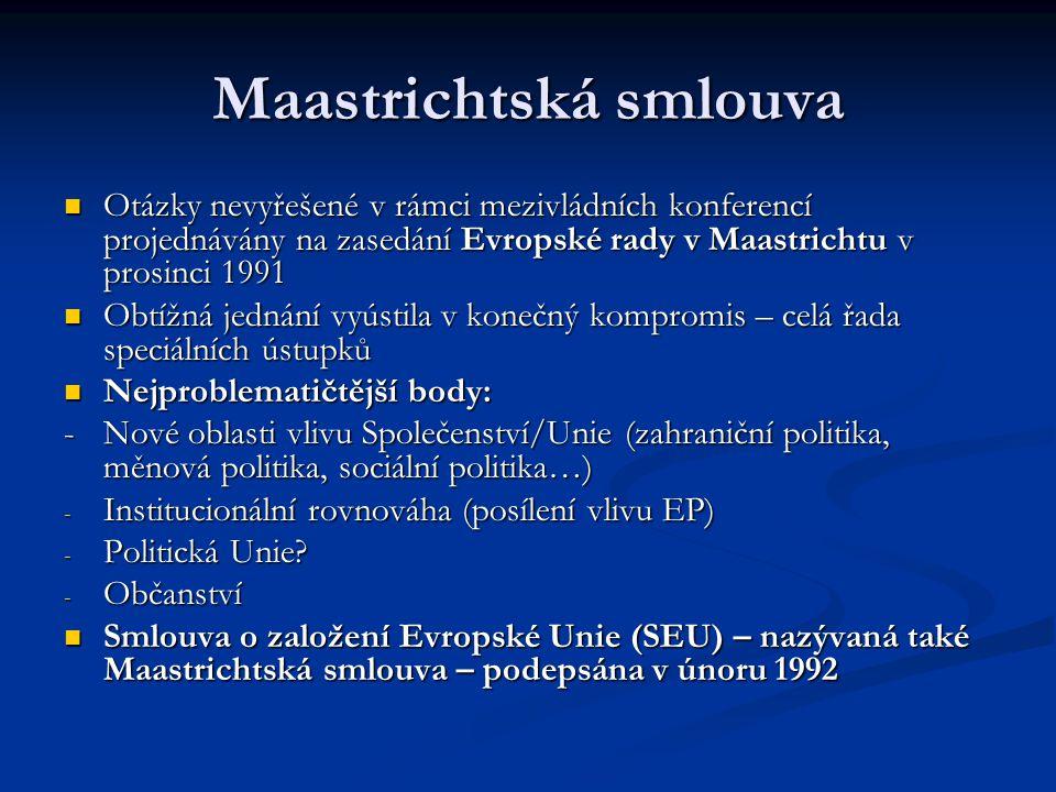 """Obsah Maastrichtské smlouvy Vznik nové organizace – Evropské unie (EU) založené na """"třech pilířích : Vznik nové organizace – Evropské unie (EU) založené na """"třech pilířích : 1) Evropská společenství (EHS se mění na ES) 2) Společná zahraniční a bezpečnostní politika (SZBP) 3) Spolupráce v oblasti spravedlnosti a vnitřních věcí (SSVV) Pilířová struktura – výsledek obtížných kompromisů; otázky koherence a srozumitelnosti – EHS  ES – součástí EU… Pilířová struktura – výsledek obtížných kompromisů; otázky koherence a srozumitelnosti – EHS  ES – součástí EU… - Pouze ES mají právní subjektivitu; EU nikoliv EU předstupeň federace."""
