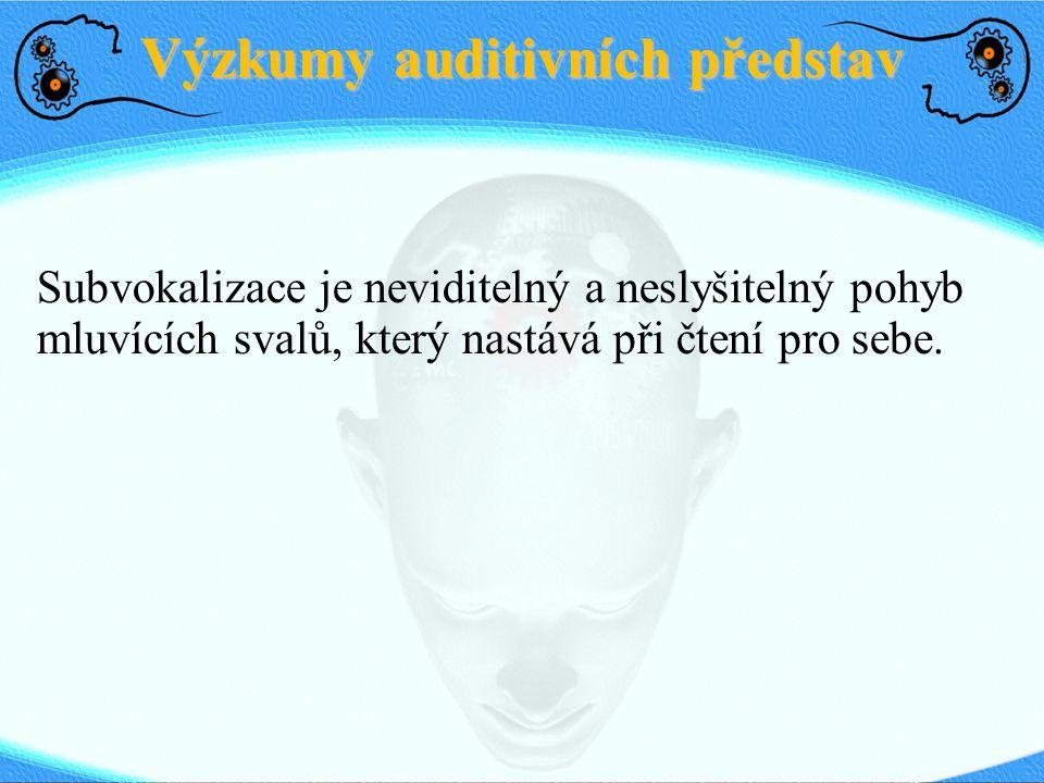 Výzkumy auditivních představ Subvokalizace je propojena s fonologickou smyčkou v pracovní paměti.