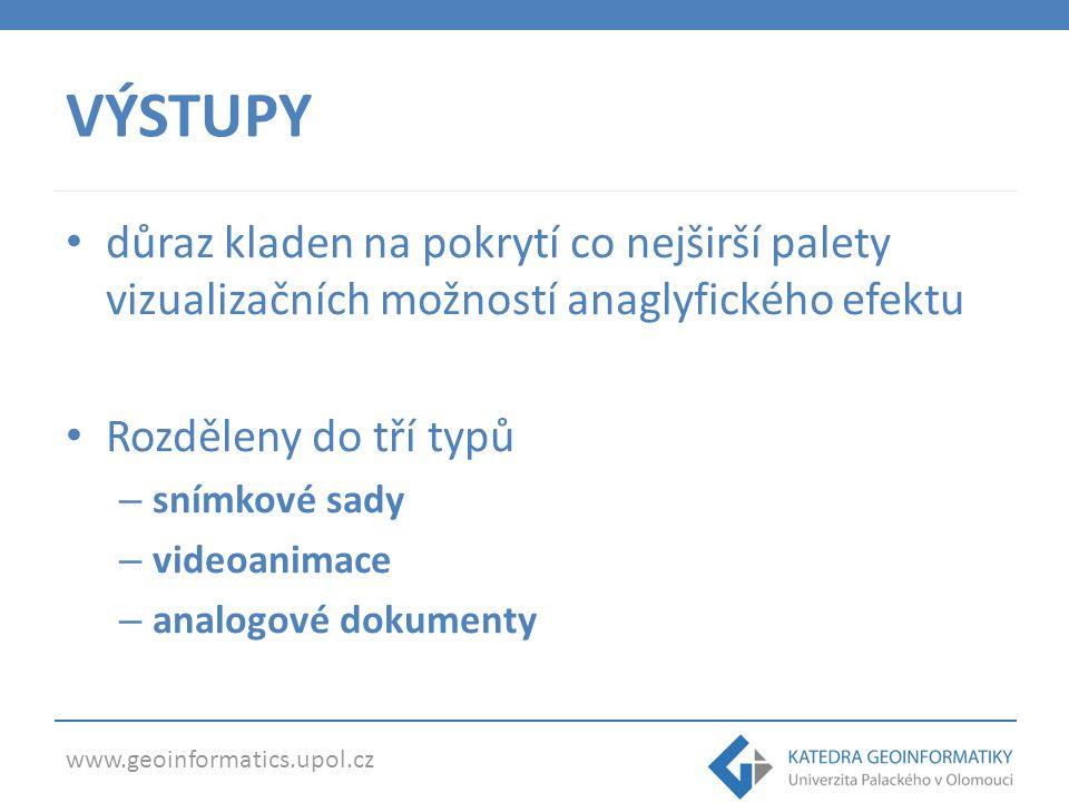 www.geoinformatics.upol.cz VÝSTUP 1: SNÍMKY