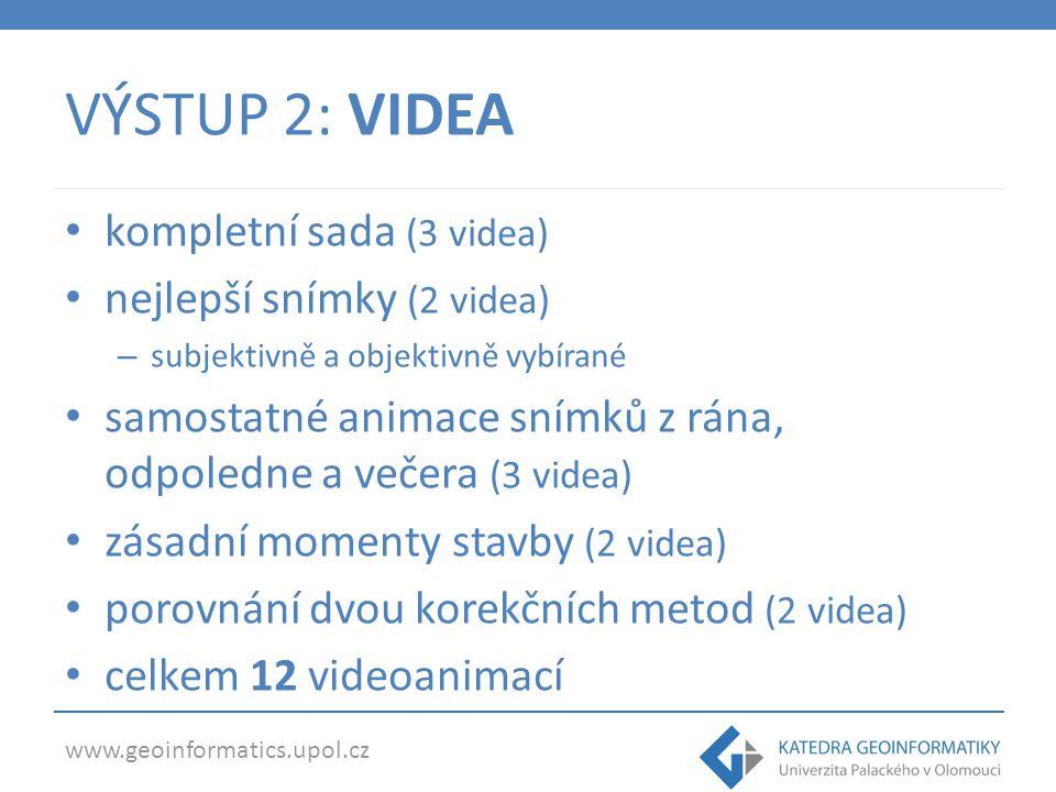 www.geoinformatics.upol.cz VÝSTUP 2: VIDEA videa na webových stránkách: – dostupnost časových značek – bez přehrávače – data dostupná volně na internetu