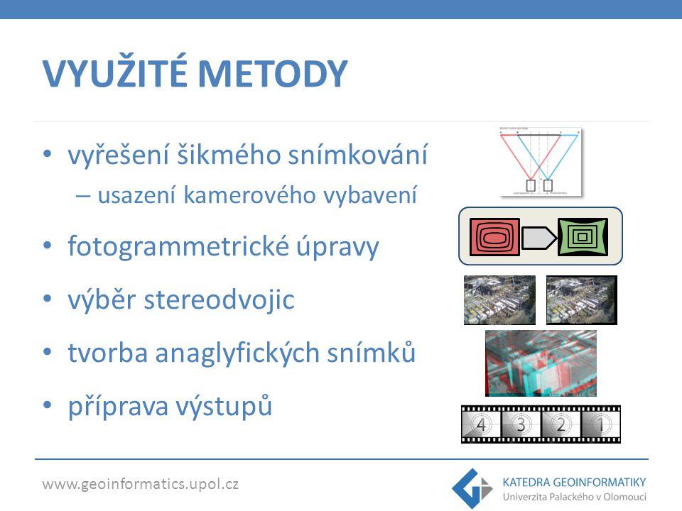www.geoinformatics.upol.cz ŠIKMÉ SNÍMKOVÁNÍ V počátcích značná skepse (nevhodnost šikmého snímání pro anaglyfický efekt) Vyřešeno usazením kamer metodou off-axis