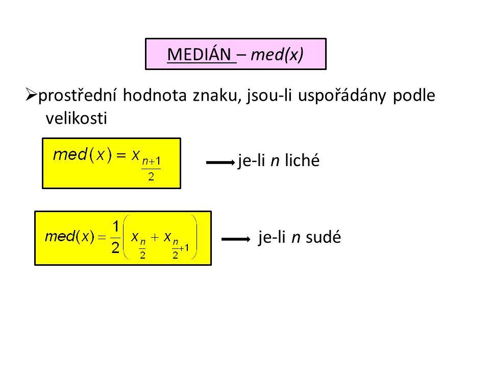 Určete mod(x), med(x) z následující tabulky četností: xjxj 24681012 njnj 3210465 mod(x) = 6 určíme přímo z rozdělení tabulky četností med(x) = aritm.