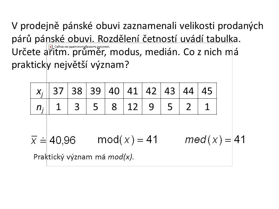 Př.2: Pro 304 studentů VŠ byla sestavena tabulka četností n j podle jejich věku x j.