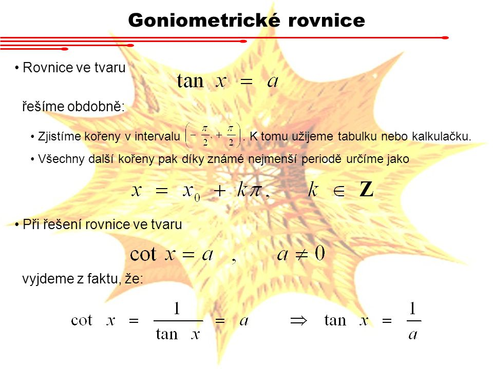 Goniometrické rovnice Složitější rovnice řešíme kombinacemi substitucí a součtových vzorců Příklad Vyřešte rovnici Zavedeme substituci y = 2x y1y1 sin y = - ½ y2y2