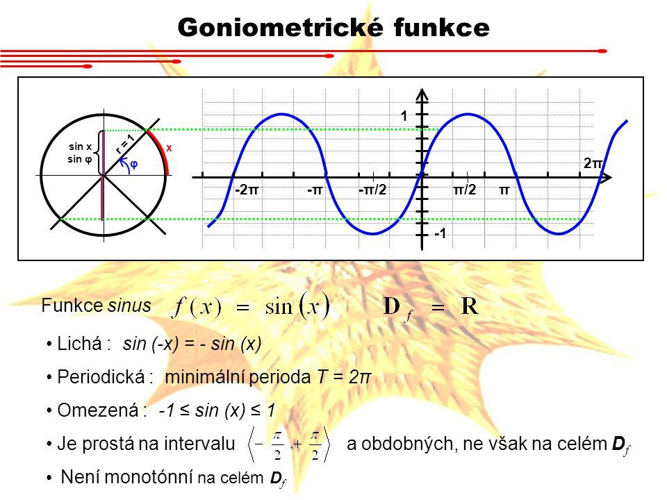 Goniometrické funkce Funkce cosinus Sudá : cos (-x) = cos (x) Periodická : minimální perioda T = 2π Omezená : -1 ≤ cos (x) ≤ 1 Je prostá na intervalu a obdobných, ne však na celém D f Není monotónní na celém D f r = 1 x φ cos x -π-π-2ππ 1 π/2 -π/2 Graf lze nakreslit stejně jako pro sinus, otočíme-li kružnici o devadesát stupňů.