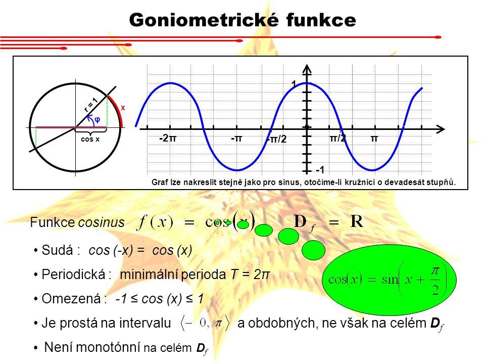 Goniometrické funkce Funkce tangens Lichá : tan (-x) = tan (x) Periodická : min.