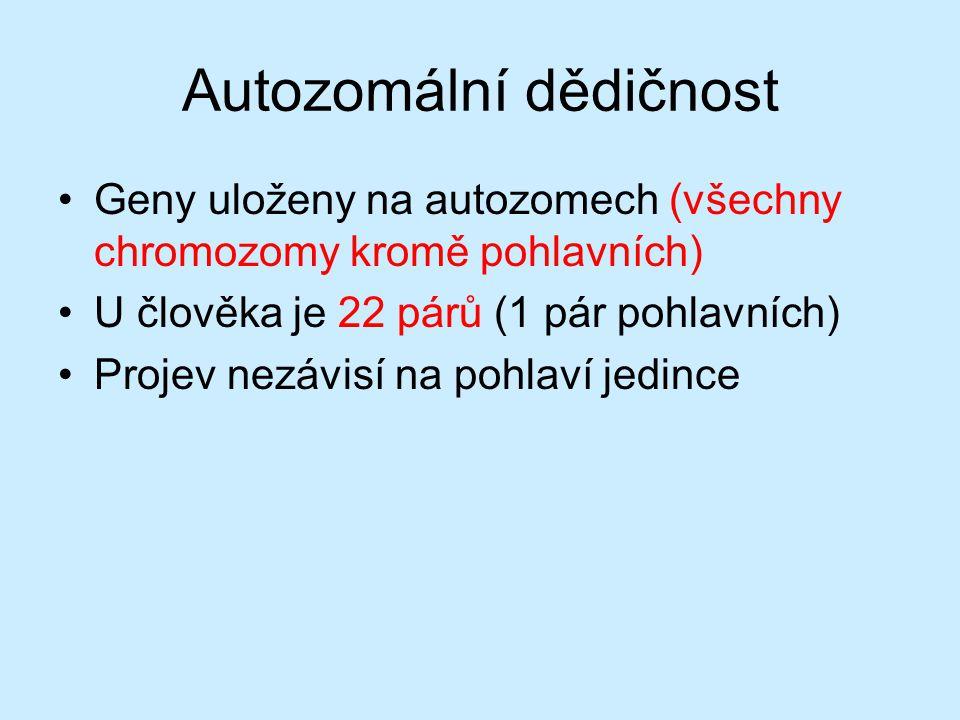 Autozomální dědičnost – kvalitativní znaky Monohybridismus s úplnou dominancí –Sleduji jeden znak, monogenně podmíněný –Křížení dvou stejných homozygotů (AA x AA, aa x aa) rodiče (parentes) P: AA x AA gamety : A A potomci (filia) F1: AA (100 %) Všichni potomci homozygoti – uniformní hybridi.