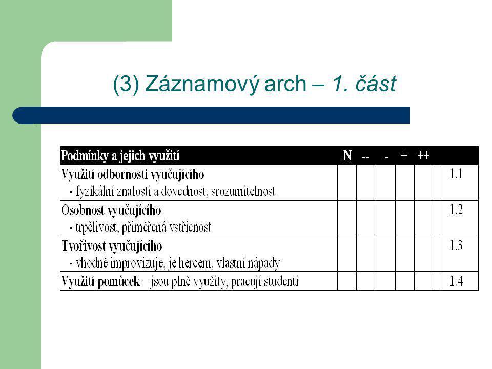 (3) Záznamový arch – 2. část