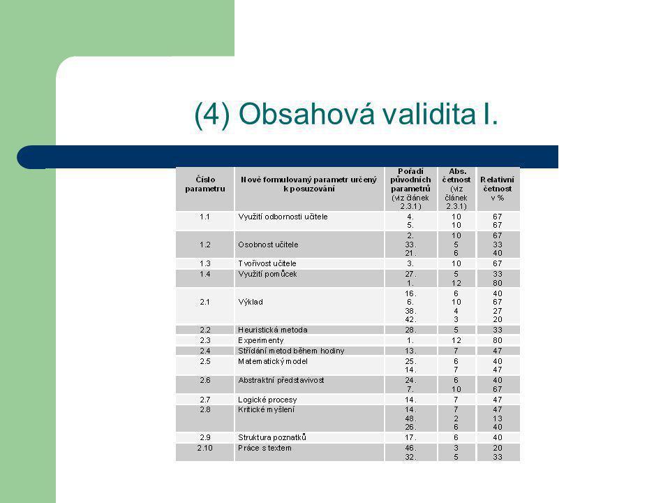 (4) Obsahová validita II.