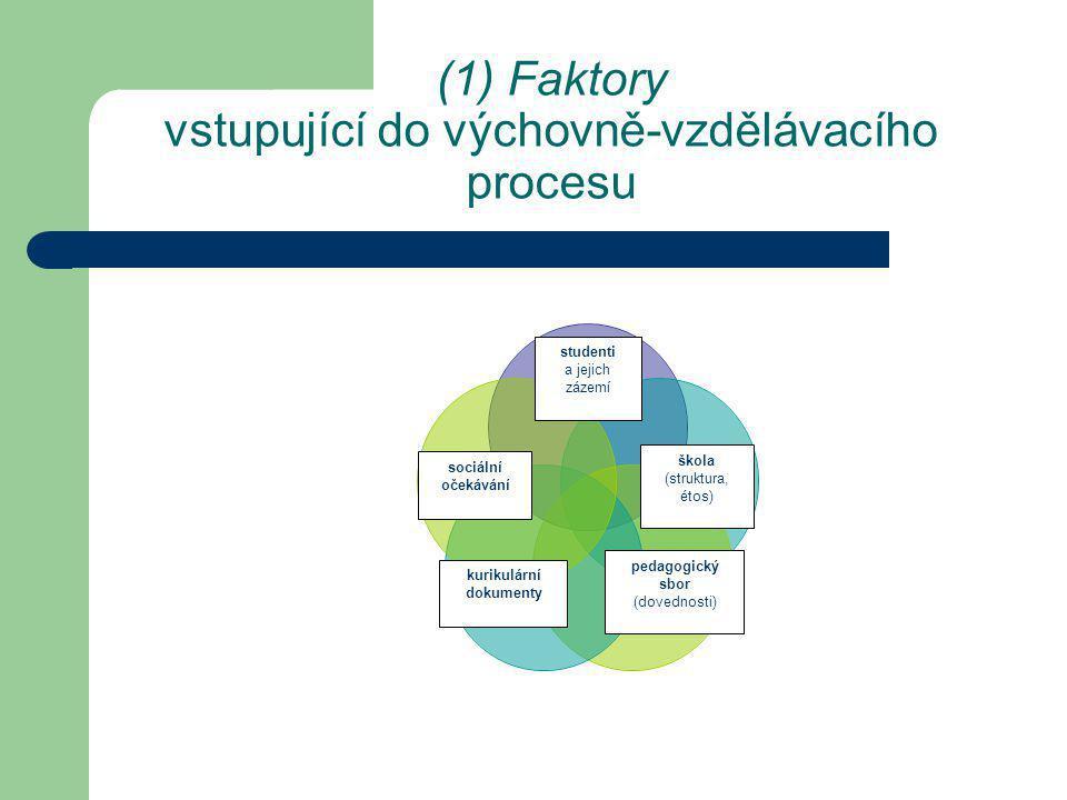 Výzkum v oblasti kvality výuky charakteristiky procesuální (parametry), charakteristiky rezultativní (produktové), tj.