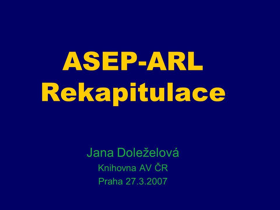 PROGRAM ASEP Zpracování – vstup dat Výstup dat – on-line katalog RIV Diskuze