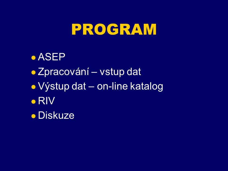 EVIDENCE PUBLIKAČNÍ ČINNOSTI v AVČR Směrnice AV z roku 1994 =>vznik informační d atabáze ASEP (Automatizovaný Systém Evidence Publikací) Obsahuje bibliografické záznamy publikací ústavů AVČR v úplnosti od roku 1993.