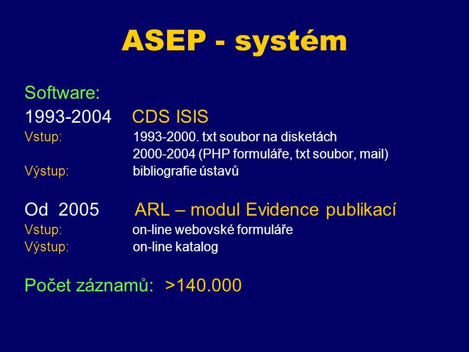 """Struktura dat Výměnný formát (ISIS) -> UNIMARC (ARL) Úprava struktury dat: dle požadavků Rady vlády v návaznosti na strukturu RIV Nové """"nepublikační formuláře (poloprovoz, prototyp, pořádané akce, práce v tisku, ostatní ) Nová pole (granty, výzkumné záměry, překlady do čj, počty stran….) + Zvýšení počtu záznamů - Problematika zařazování záznamů do typu dle požadavků ústavů Údaje pro vykazování, import citací z WOS do záznamů… Počty zpracovaných záznamů za časový údaj, spolupráce… dle změn na ústavech Vzniku, zániku, sloučení ústavů Počet typů dokumentů: 22 Manuál"""