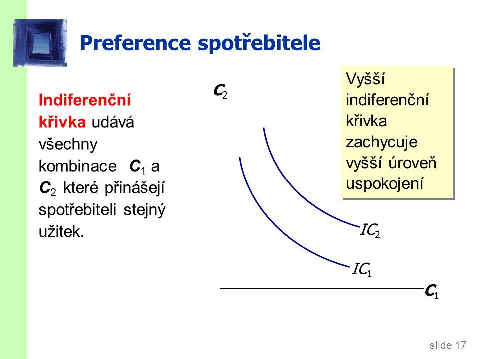 slide 18 Preference spotřebitele Mezní míra substituce (MRS): množství C 2, které je spotřebitel ochoten substituovat za jednu jednotku C 1.
