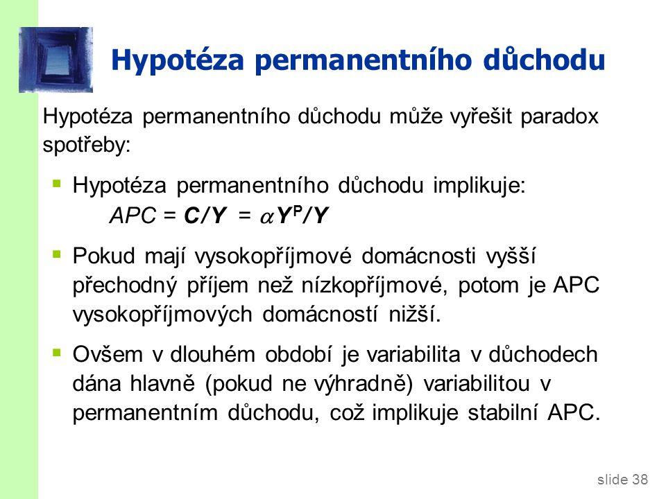 slide 39 Hypotéza životního cyklu (LCH) vs.