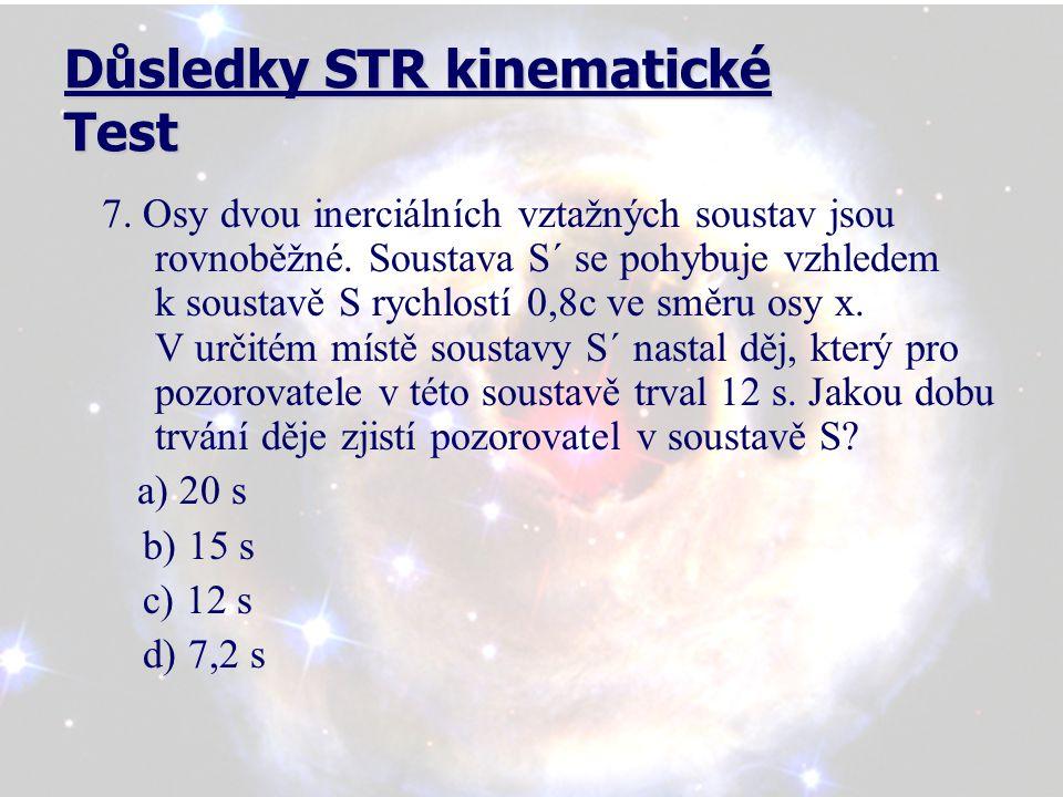 Důsledky STR kinematické Test 8.Osy dvou inerciálních vztažných soustav jsou rovnoběžné.