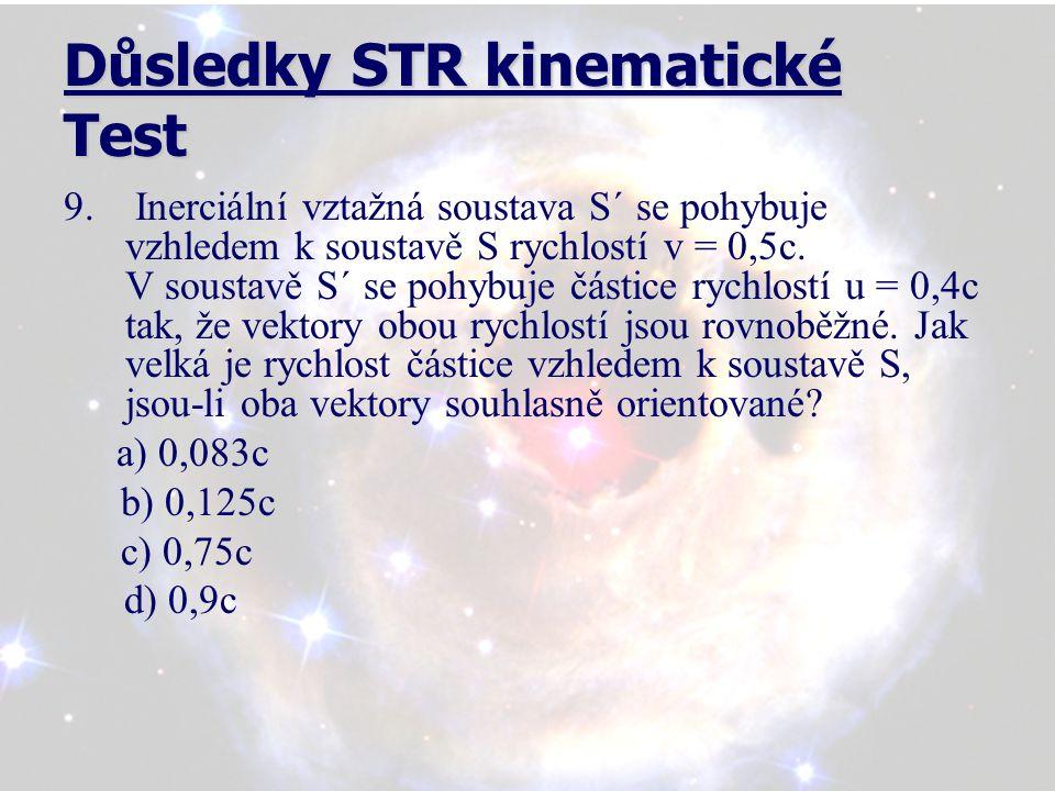 Důsledky STR kinematické Test 10.