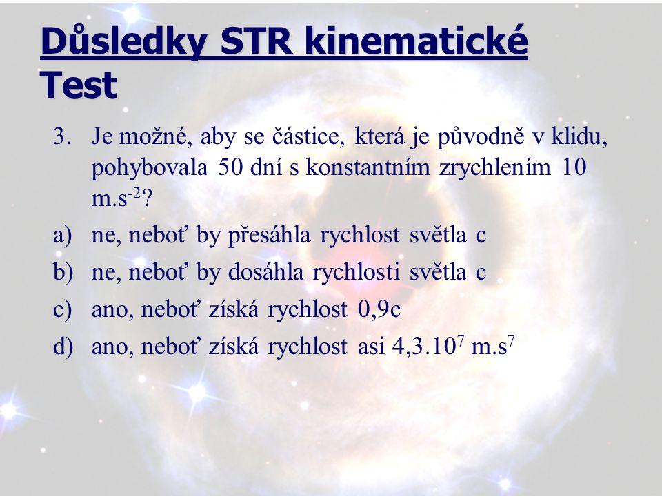 Důsledky STR kinematické Test 4.