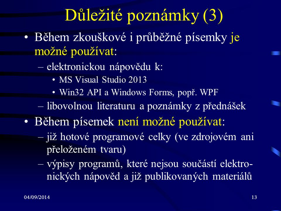 04/09/201414 Literatura Pelikán, Jaroslav: Prezentace k přednáškám z před- mětu PB069 Vývoj desktopových aplikací v C#/.NET, http://www.fi.muni.cz/usr/pelikan Griffiths, Ian – Adams, Matthew – Liberty, Jesse: Programming C# 4.0, O'Reilly Media 2010, ISBN: 978-0-596-15983-2 Petzold, Charles: Programování Microsoft Windows Forms v jazyce C#, Computer Press 2006, ISBN: 80-251-1058-3 Sharp, John: Microsoft Visual C# 2010, Computer Press 2010, ISBN: 978-80-251-3147-3 Petzold, Charles: Programování ve Windows, Computer Press 1999, ISBN: 80-7226-206-8