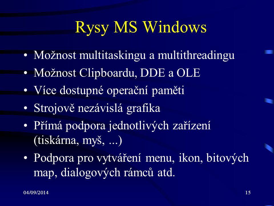 04/09/201416 Program pro MS Windows (1) Operační systém MS Windows je založen na událostmi řízené architektuře (event-driven architecture) S veškerými uživatelskými vstupy (z kláves- nice, myši,...) se zachází jako s událostmi Pro každou událost Windows generují zprávu (message): –např.