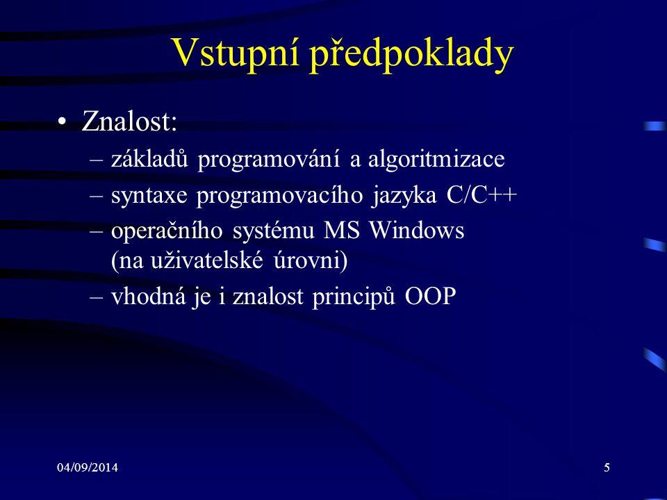 04/09/20146 Osnova (1) Událostmi řízené programování Model programu pro MS Windows Programovací jazyk C# Objektově orientované programování: –datový typ třída – členy třídy Jmenné prostory Principy OOP: –zapouzdření –dědičnost –polymorfismus