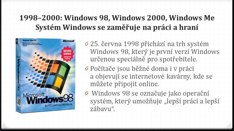 1998–2000: Windows 98, Windows 2000, Windows Me Systém Windows se zaměřuje na práci a hraní 0 S Windows 98 můžete jednodušeji vyhledávat informace v počítači i na Internetu.