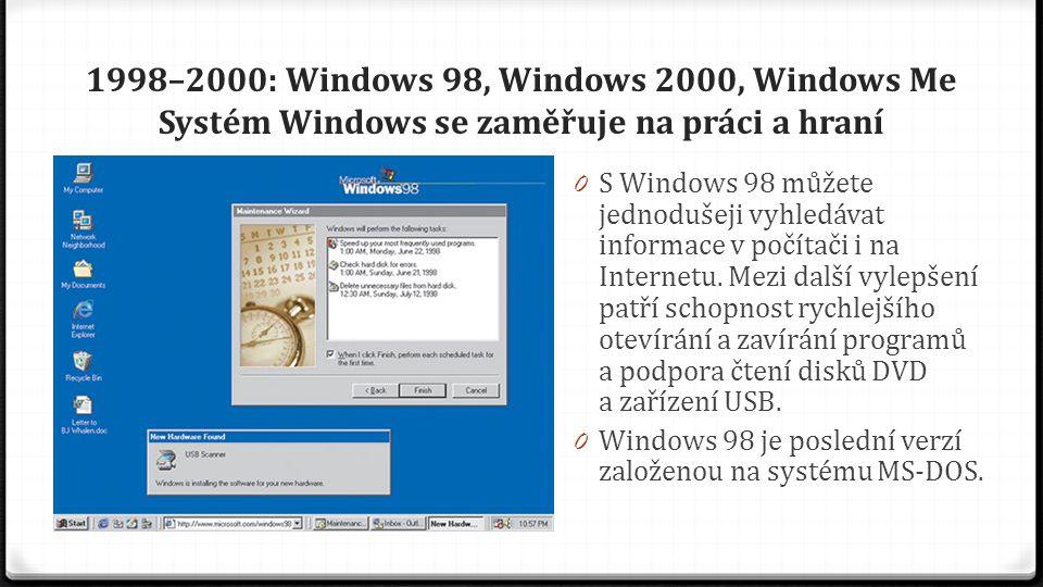 1998–2000: Windows 98, Windows 2000, Windows Me Systém Windows se zaměřuje na práci a hraní 0 Systém Windows Me, určený pro domácí počítače, nabízí řadu zdokonalení v oblasti hudby, videa a domácích sítí a lepší spolehlivost oproti předchozím verzím.