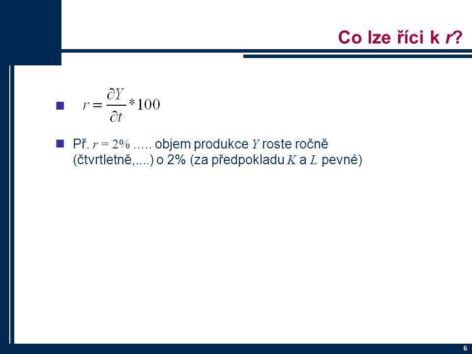 7 Odhad parametrů PF nJe třeba provést logaritmickou transformaci: nV PcGivu:  log (Y) = log A + α log (K) + β log (Z) + u  log (Y) = log A + α log (K) + β log (Z) + rt + u nMNČ  vyjde: log A (vyjde jako konstanta), α, β (ty vyjdou přímo) eventuelně r (také přímo)