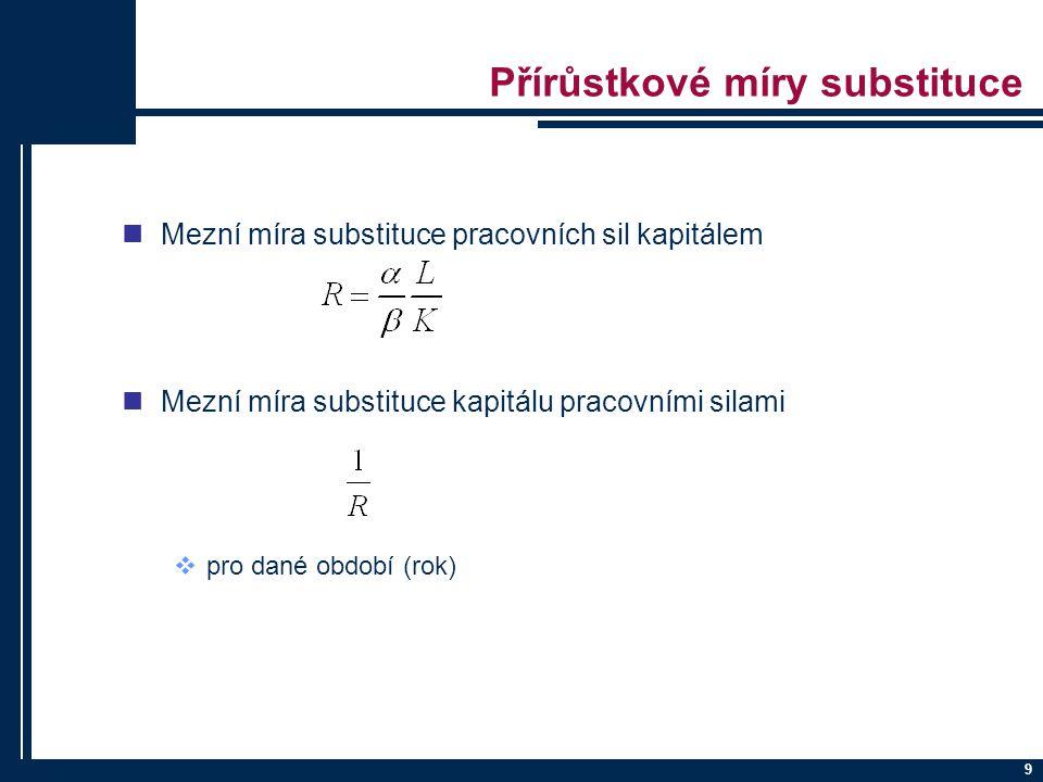 10 Pružnost substituce faktorů snadnost záměny K za L dána koeficienty pružnosti substituce δ = f (R) a leží v intervalu (0, ) δ → 0 rektangulární izokvanta neexistuje substituce δ → izokvanta je přímka dokonalá substituce δ → 1 L = φ(K).....