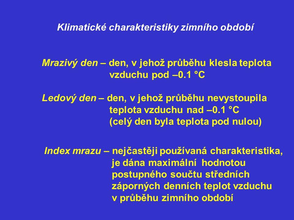 Faktory ovlivňující index mrazu: -nadmořská výška -čistota vzduchu -proudění tepla -členitost území -vegetace Návrhová hodnota indexu mrazu: I m,n je stanovená s určitou periodicitou n z dlouhodobých pozorování