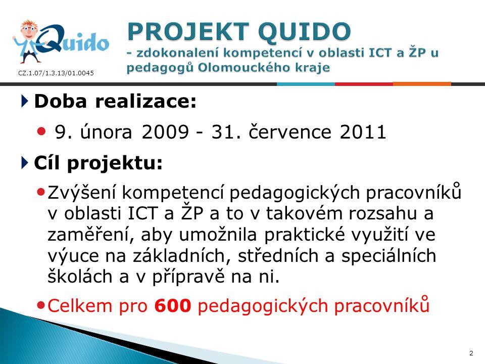 CZ.1.07/1.3.13/01.0045 Realizátor projektu: Počítačová služba s.r.o., Olomouc Partneři projektu: Vysoká škola logistiky, o.p.s.