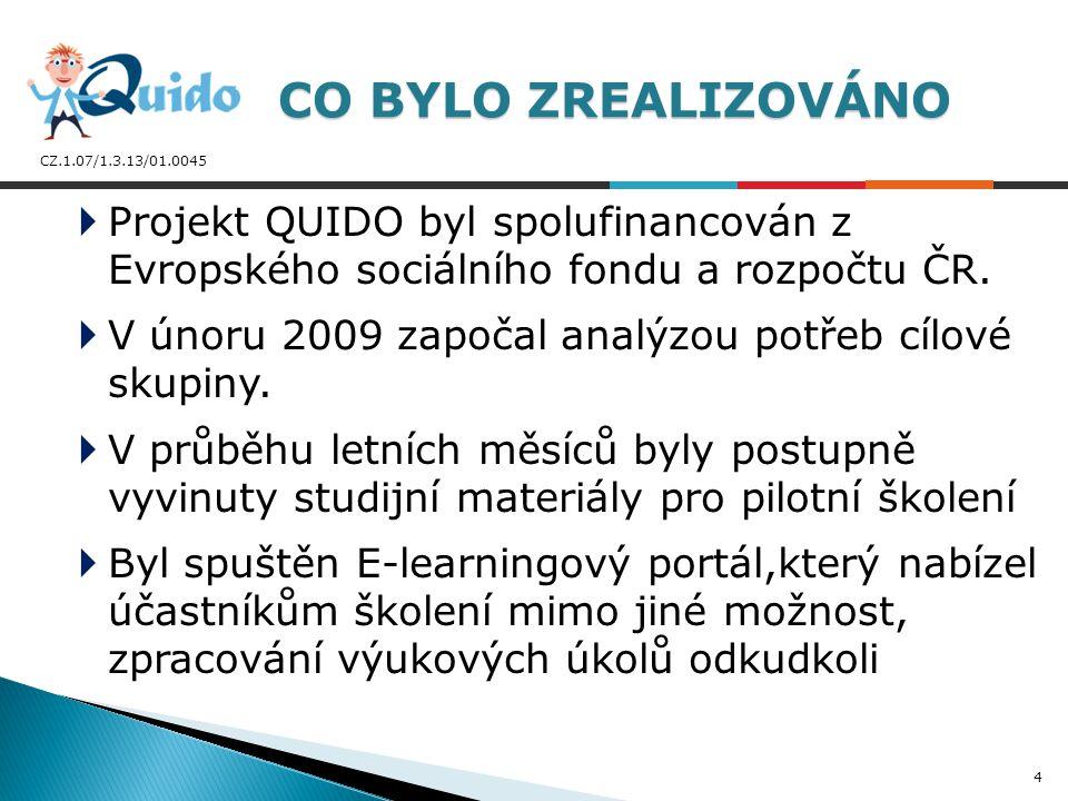CZ.1.07/1.3.13/01.0045  Bylo akreditováno celkem 10 modulů DVPP MŠMT ČR – úspěšní absolventi kurzů získali platné Osvědčení DVPP Z toho: 9 modulů bylo zaměřeno na práci s výpočetní technikou a programy MS Office 2007 a dalšími programy (Zoner Photostudio 12, … ) 1 modul byl zaměřen na oblast životního prostředí CO BYLO REALIZOVÁNO 5