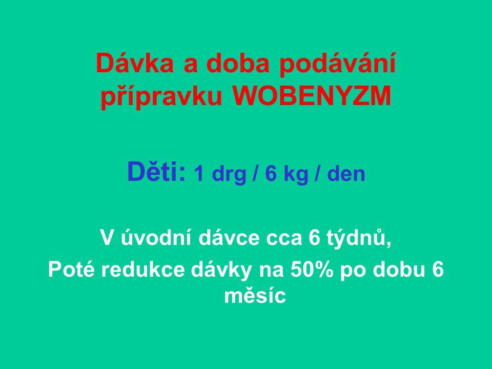 Dávka a doba podávání přípravku WOBENYZM DOSPĚLÍ: do 15drg/24hod Po dobu cca 6 týdnů, poté redukce na 50% po dobu více než půl roku, ne více než rok.
