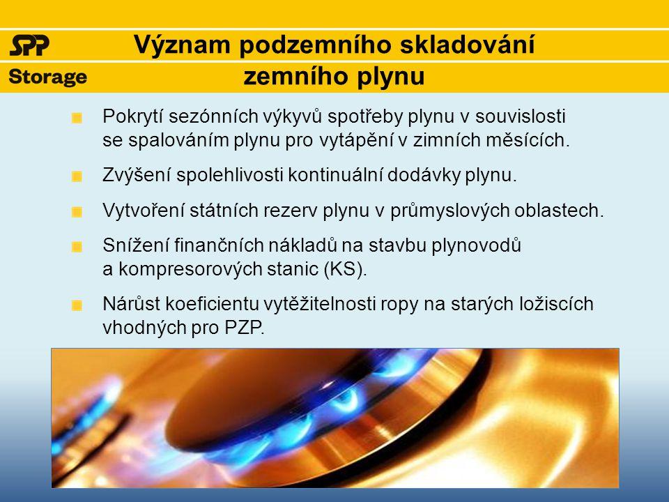 Druhy podzemních zásobníků na území ČR Vytěžená ložiska plynu či ropy – nejčastěji využívaný typ PZP Aquifery – porézní horninové formace, které plní roli přirozených vodních rezervoárů.