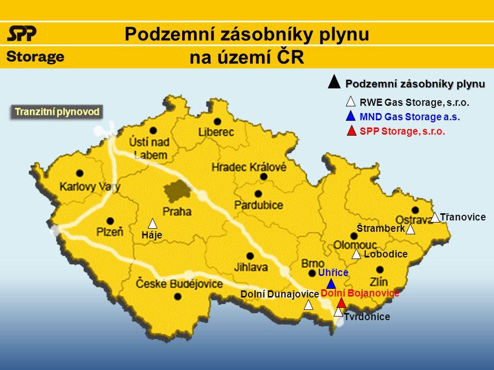 základní charakteristika Poloha - Dolní Bojanovice, okres Hodonín, kraj Jihomoravský Uveden do provozu: říjen 1999 Celkové zásoby Aktivní náplň (provozní zásoby) 576 mil.