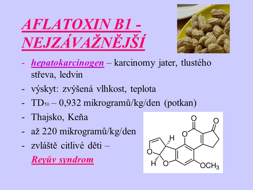 AFLATOXIN B1 -přímý karcinogenní účinek potvrzuje skutečnost, že aflatoxin B1 působí v genu p53 – způsobuje mutace typu záměny bází: normál: A – T mutace: A – C T – A G – T G – C T – G C – G C – A -mutace v lidských hepatocytech – chronický zánět