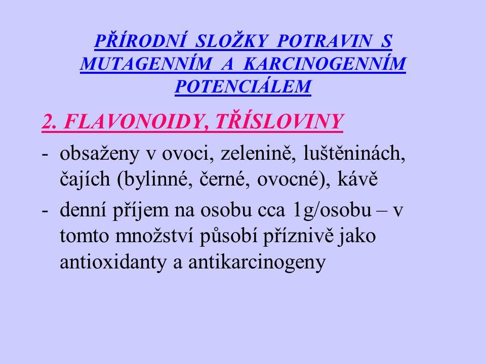 PŘÍRODNÍ SLOŽKY POTRAVIN S MUTAGENNÍM A KARCINOGENNÍM POTENCIÁLEM 3.