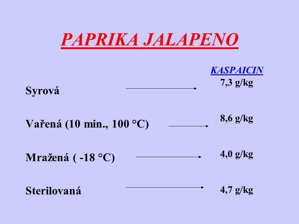 ÚPRAVA PAPRIK -při kulinářské přípravě – dochází k porušení pletiva a uvolnění enzymů, které z části hydrolyzují přítomné kapsaicinoidy a transformují se na vysokomolekulární sloučeniny -působením endogenní peroxidázy vzniká kapsaicin a jeho deriváty