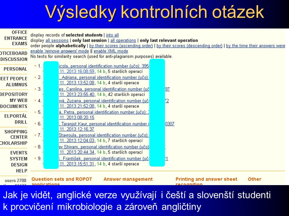 Výsledky kontrolních otázek (2)