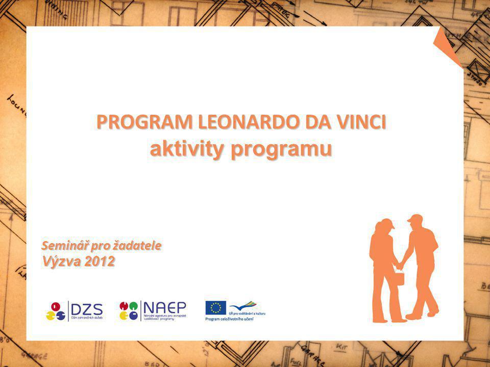 Program celoživotního učení (LLP) Comenius obecné vzdělávání ve školách Erasmus vysokoškolské vzdělávání Leonardo da Vinci odborné vzdělávání a příprava Grundtvig vzdělávání dospělých a celoživotní učení Průřezový program 4 klíčové aktivity – vývoj politiky - SVES ; jazykové vzdělávání - Label ; informační a komunikační technologie; diseminace Program Jean Monnet podpora výuky, výzkumu a diskuse v oblasti studií evropské integrace na úrovni vysokoškolských institucí