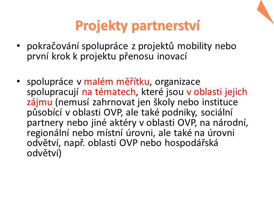 Projekty partnerství žádost podává své Národní agentuře každá instituce, která se účastní partnerství délka trvání projektu: 2 roky minimální počet zemí: 3 minimální počet partnerů: 3 termín pro podání žádosti: 21.