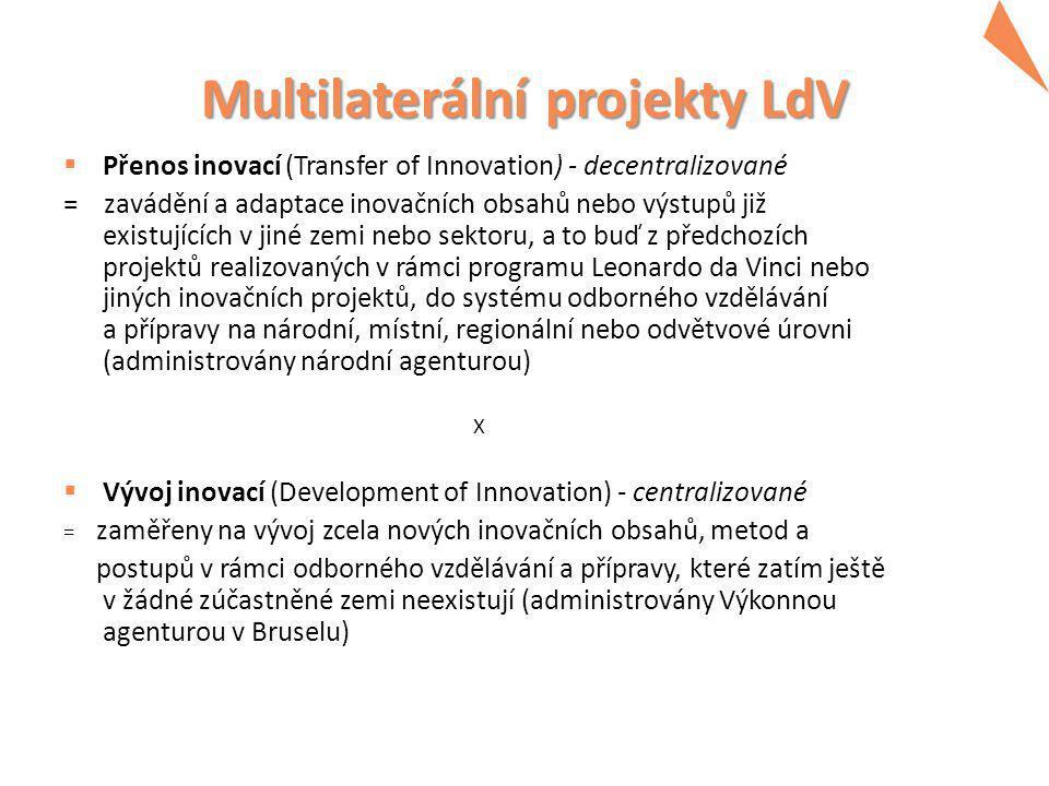 Multilaterální projekty LdV  předávání (přenos) inovací na mezinárodní úrovni zahrnuje jazykové, kulturní a právní přizpůsobení inovačních produktů a procesů vyvinutých v odlišných podmínkách národním potřebám  maximální grant: 150 000,- EUR/1 rok  max.