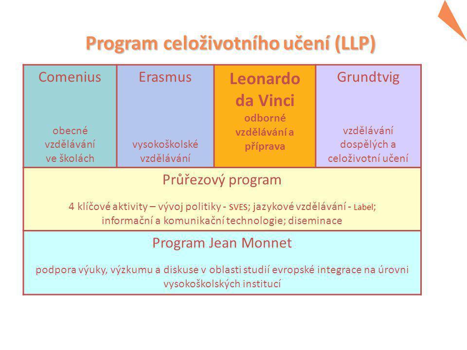 Program Leonardo da Vinci  zaměřen na výukové a vzdělávací potřeby všech osob účastnících se odborného vzdělávání a odborné přípravy na jiné než vysokoškolské úrovni a na instituce a organizace nabízející nebo podporující toto vzdělávání a přípravu