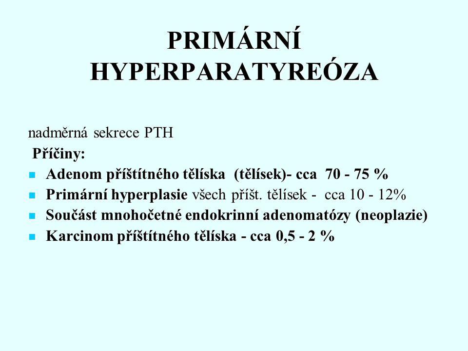 Důsledky Postižení ledvin - až u 60-75 % nemocných Postižení ledvin - až u 60-75 % nemocných Renální postižení není závislé na délce či tíži nemoci Renální postižení není závislé na délce či tíži nemoci Nefrolitiáza - kalciumoxaláty a kalciumfosfáty, často recidivující, obstrukce - infekce ledviny - pokles funkcí- insuficience Nefrolitiáza - kalciumoxaláty a kalciumfosfáty, často recidivující, obstrukce - infekce ledviny - pokles funkcí- insuficience Nefrokalcinóza - u asi 7%, postižení tubulů i bazální membrány - pokles glomerulární filtrace i tubul.
