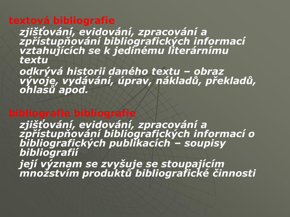 Typy a druhy bibliografií (výsledků bibliografické práce - bibliografik ) rozlišují se: 1.