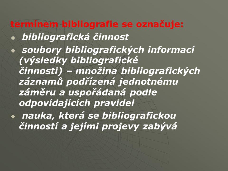   výklad termínu podle KTD (Česká terminologická databáze knihovnictví a informační vědy - TDKIV):Česká terminologická databáze knihovnictví a informační vědy   seznam dokumentů zpracovaný podle určitých zásad, pravidel a hledisek   nauka o seznamech dokumentů, o jejich účelu, způsobech využívání, druzích, historickém vývoji a o metodice a technice jejich zpracování.