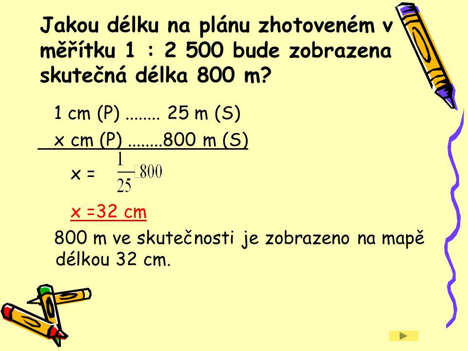 Na mapě s měřítkem 1 : 75 000 je vzdušná vzdálenost dvou míst vyznačena úsečkou délky 8,4 cm.