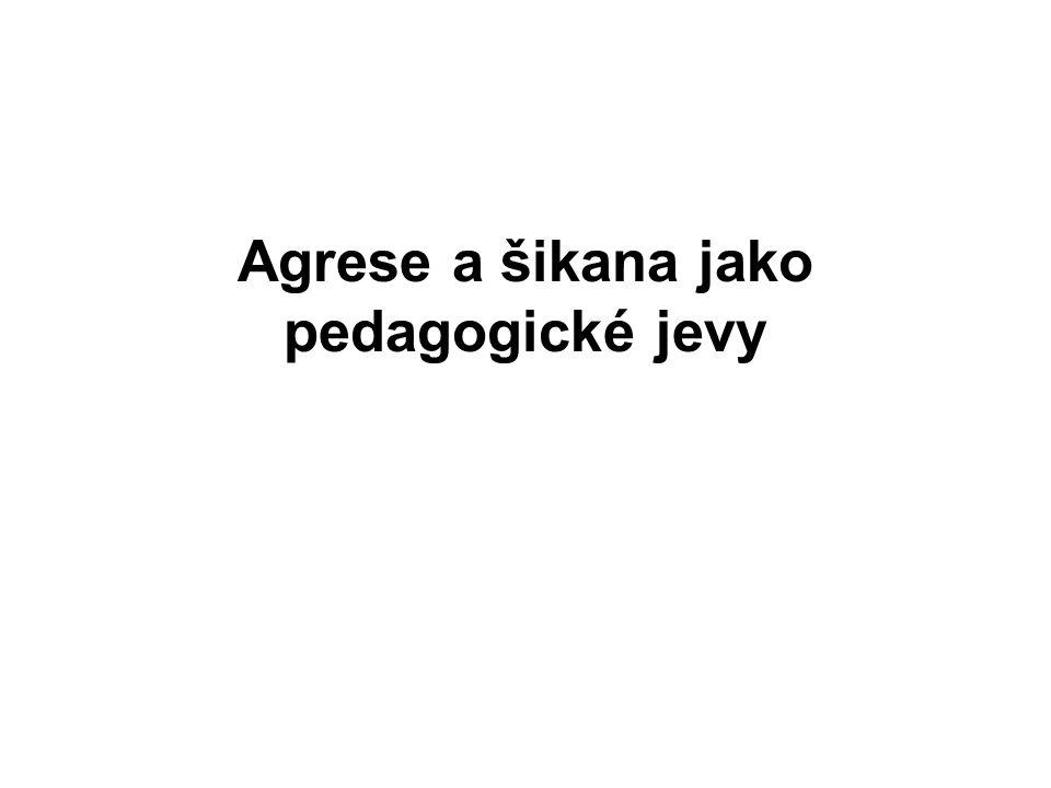 Vztah agrese a šikany Agrese = napadení (nejobvyklejší výklad tohoto pojmu) Šikana = zvláštní případ agrese, znamená obtěžování, týrání, sužování, pronásledování atd.