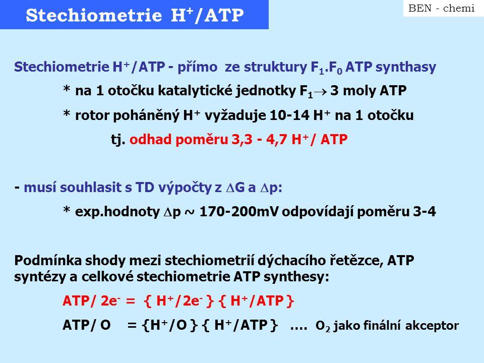 """Respirační kontrola transportu H + BEN - chemi """"Protonový proud J H+ = {  O/  t } { H + /0 } * přímá úměrnost spotřebě kyslíku * pohodlné určení kyslíkovou elektrodou (Clark ) * jednoduchý model sledování respirační kontroly Podle inkubačních podmínek můžeme sledovat: a) transport substrátu přes membránu b) aktivitu dehydrogenasy pro přísl."""