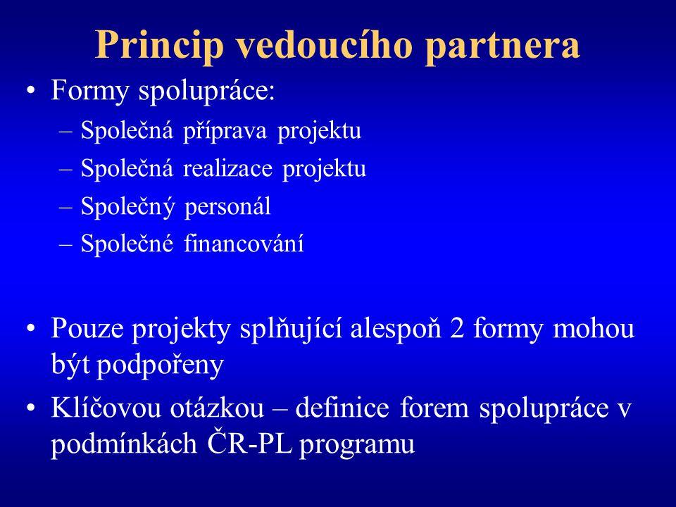 Povinnosti vedoucího partnera LP je smluvní stranou a vystupuje vůči strukturám programu LP nese celkovou odpovědnost za realizaci projektu; odpovědnost partnerů není dotčena LP přijímá celkové platby a provádí jejich převod partnerům;
